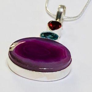 JK Designs Jewelry - COLOR POOL Agate & Quartz Crystal Stone Necklace